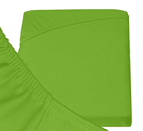 Double Jersey - Spannbettlaken 100% Baumwolle Jersey-Stretch bettlaken, Ultra Weich und Bügelfrei mit bis zu 30cm Stehghöhe, 160x200x30 Lime - 6