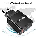 PETUNIA Smart USB Charger QC3.0 Quick Charger Portable Travel Wall Charger Adapter - Black(EU Plug)