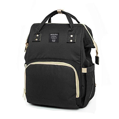 Preisvergleich Produktbild SoonerQuicker Handtasche Damen Mummy Bag Wickeltasche Large Capacity Baby Bag Reiserucksack Desiger Nursing Bag (schwarz)