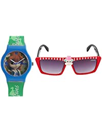 Fantasy World Blue Watch And Red Sunglass Combo For Boys And Girls
