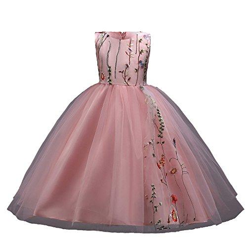 Mbby vestiti damigella bambine,4-14 anni vestito da carnevale per bambina abiti cerimonia principessa senza manica a fiori tulle abito tutu per ragazza