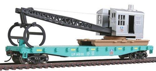 walthers-trainline-flatcar-w-logging-crane-ready-to-run-union-pacificr-green-black-by-walthers-train