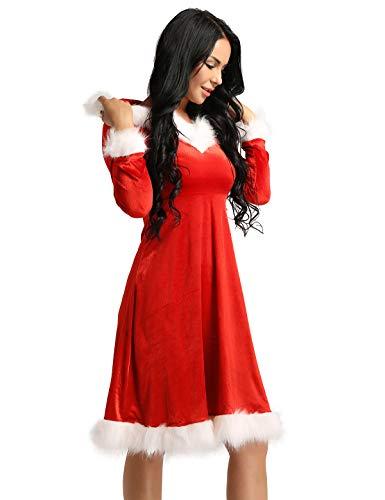 iiniim Disfraz Miss Santa Navidad Vestido con Capucha Cosplay Traje de Terciopelo para Mujer Chica Atractiva Sra. Mamá Noel Ropa de Fiesta Navidad Xmas Carnaval Vestido Lujo Rojo XX-Large