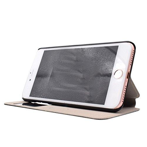 Voguecase® für Apple iPhone 7 4.7 hülle,(C/Grün Löwenzahn) Sichtfenster Kunstleder Tasche PU Schutzhülle Tasche Leder Brieftasche Hülle Case Cover + Gratis Universal Eingabestift C/touch me 02