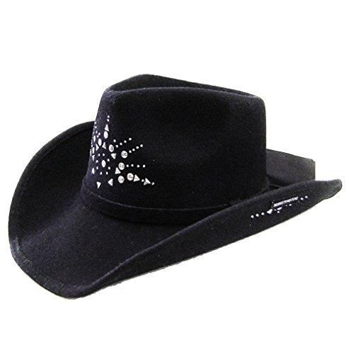 Modestone Unisex Wool Felt Starburst Metal Stud Chapeaux Cowboy Black