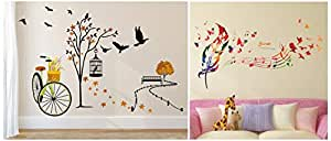 Amazon Brand - Solimo Wall Sticker for Living Room(Ride Through Nature, Ideal Size on Wall: 140 cm Wall Sticker for Home (Song of Birds, Ideal Size on Wall, 119 cm X 71 cm),MUL Combo