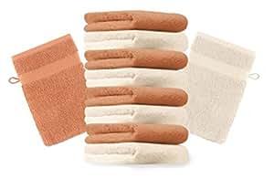 10er Pack Waschhandschuhe Waschlappen Premium Größe 16x21 cm Farbe Beige & Orange Kordelaufhänger 100% Baumwolle