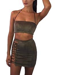 1fe4906e355c Battercake Mujer Conjuntos De Crop Top Y Faldas Cortas Elegantes Vintage  Atractivo Gamuza Casuales Mujeres Bandage