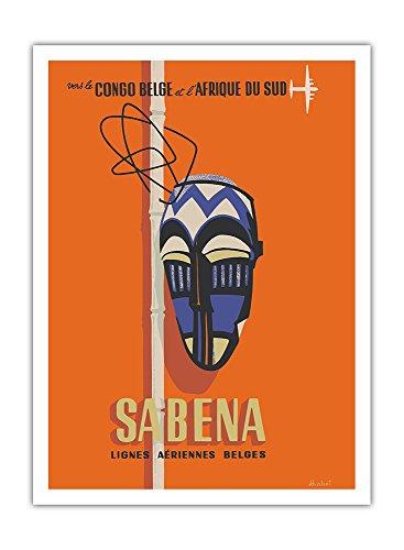 Pacifica Island Art - Kongo - Südafrika - Sabena, Belgische Flugliniengesellschaft - Stammes-Maske - Retro Flugreise Plakat von Hohet c.1950s - Giclée Kunstdruck 30.5 x 41 cm