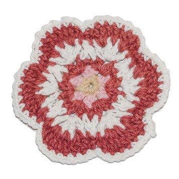 alles-meine.de GmbH Häkel Blume braun weiß - 6,5 cm Häkelblüte - Aufnäher Applikation - Blume gehäkelt Handarbeit - handgemacht -