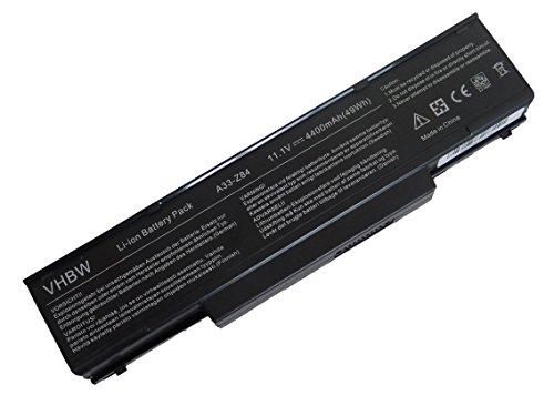 vhbw Li-Ion Akku 4400mAh (11.1V) für Notebook Laptop MSI GE600, GE600X, GT627, GT627X wie 3UR18650F-2-QC-11, 916C4950F, M740BAT-6, SQU-511.