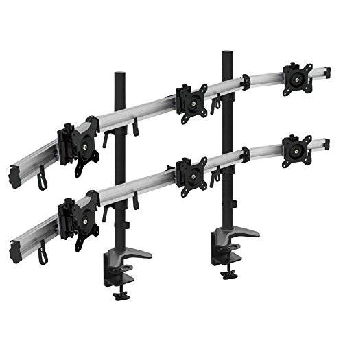 "HFTEK® MP260C-N Support de bureau pour 6 six moniteur desk mount control center support de table pour Moniteur LED écran LCD Moniteur 15"" à 27"" pouces avec VESA 75/100"