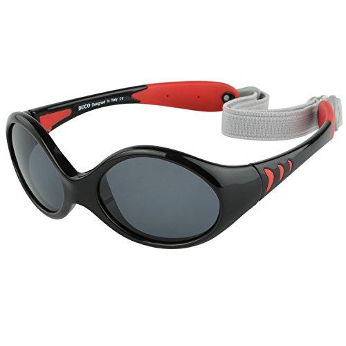Duco Kinder Sonnenbrille Polarisierte Sportbrille TPEE Flexibeles Gestell für Baby Mädchen oder Junge 0 -24 Monate K012 (Schwarz)