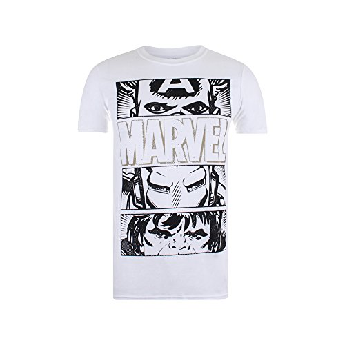 Marvel Herren T-Shirt Hero Eyes Dark Weiß