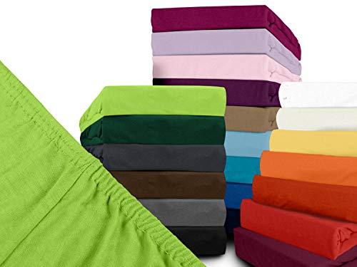 npluseins klassisches Jersey Spannbetttuch - erhältlich in 34 modernen Farben und 6 Verschiedenen Größen - 100% Baumwolle, 70 x 140 cm, Kiwi - 2