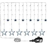 VOLTRONIC 12 Sterne 150 LED Lichtervorhang Lichterkette für innen und außen, Farbwahl: warmweiß/kaltweiß / bunt, GS geprüft, IP44, 8 Leuchtmodi, Outdoor