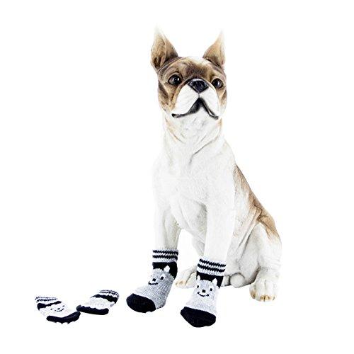 Handfly Dog Socks Pet Socks Black Bowknot Antiskid Socks Anti-slip Socks S  M L 09464ce18928