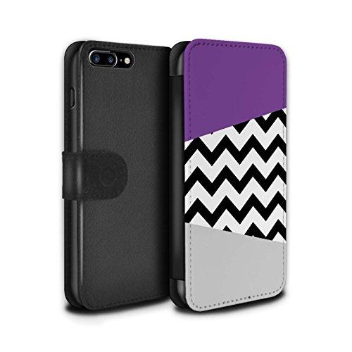 STUFF4 PU-Leder Hülle/Case/Tasche/Cover für Apple iPhone 6+/Plus 5.5 / Hübsche Ombre/Funkeln Muster / Lila Mode Kollektion Geometrischer Zickzack