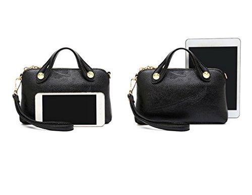 Kauftree Damen Frauen Umhängetasche Handtasche Clutches Handgelenkstasche Citytasche Klein Schwarz