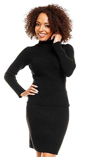 Zeta Ville - Women's Roll Neckline Knit Ribbed Pencil Skirt Top Set Coord - 489z Test