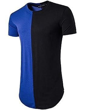 Hombres alrededor de la costura personalizada larga sección de cuello redondo de manga corta camiseta de verano...