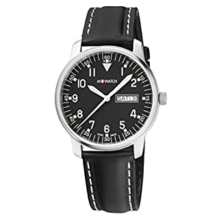 M WATCH Swiss Made Aero Men's Watch, Black Dial with Date Function, Stainless Steel Case with Black Leather Strap