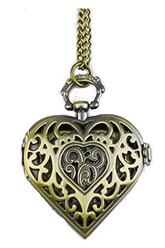 Herzförmiger Tasche (TOOGOO (R) Hohle herzfoermige Taschen-uhr Halskette Anhaenger Bronze)