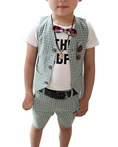 Jungen Gentleman 2 Stück Kinderanzug Junge Anzug Weste + Kurze Hose Grün