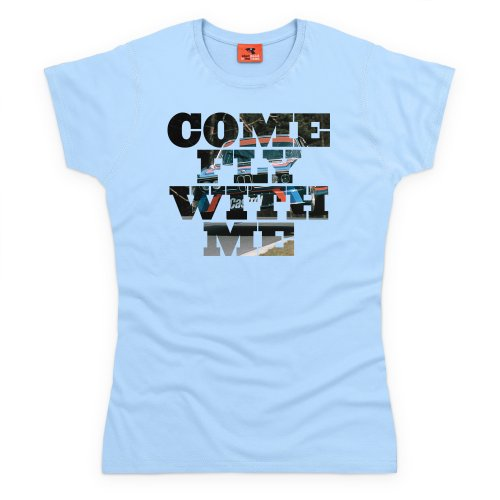 Bimmer Come Fly With Me T-Shirt, Damen Himmelblau