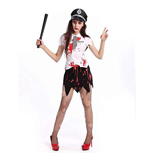 KAIDILA Halloween Vampir White Zombie weibliche Polizei Bühne Outfit Cosplay Zombie Make-up Party Kostüm Real Pat