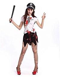 KAIDILA Traje de Halloween Vampiro Blanco Zombie Mujer policía Etapa  Cosplay Zombie Maquillaje Fiesta Traje Real 9e0e7495aa9