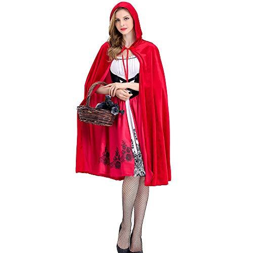 Queen Red Kostüm Kinder - Damen Halloween Rotkäppchen Kostüm Cosplay Party Nightclub Queen Kostüm,Rot,S