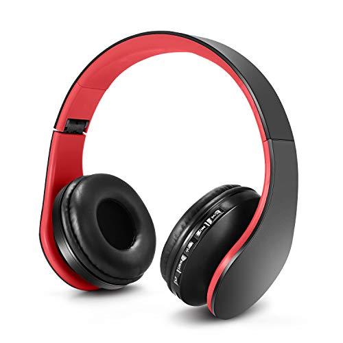 Casque pour Enfant, Ecouteurs sans Fil avec Microphone pour Enfants, Casque et Ecouteurs Bluetooth sans Fil, Oreillette stéréo Bluetooth Pliable pour Enfants, Casque-Rouge