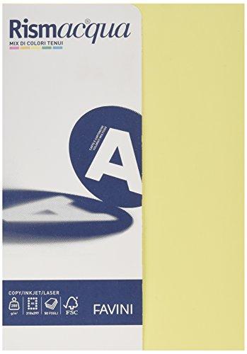 Favini a69x524  rismacquaa4 cartoncino, 200 g/mq, 50 fogli a4 210 x 297, 5 colori assortiti tenui