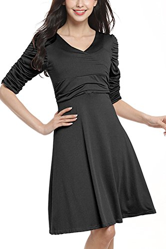 Formales Kleid, WIWIQS Frauen tragen zur Arbeit plus Größen langes Bankett bescheidenes Kleid, Schwarzes M