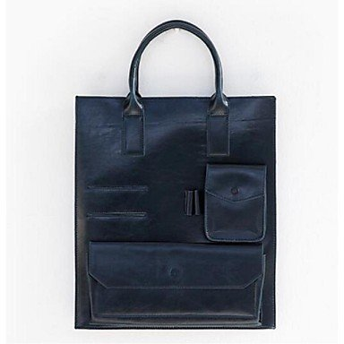 Woman-Tote-PU-All-Seasons-Casual-Shopper-Metallic-Zipper-Brown-Black-Blue