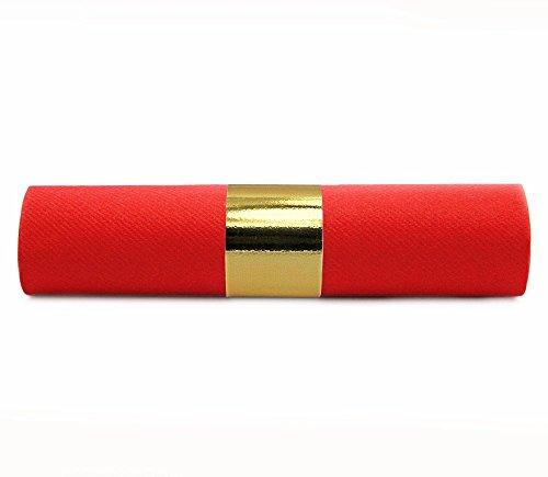 ROT gerollt mit Band Gold Metallic (1,35€/Stück) - Servietten aus Airlaid Linclass mit Serviettenring Premium Weihnachten Deko ()