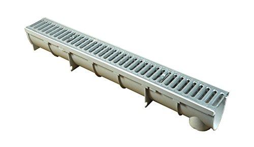 WOLFA 100 V-Line Entwässerungsrinne Bodenrinne Ablaufrinne 1m Rinne inkl. Stegrost