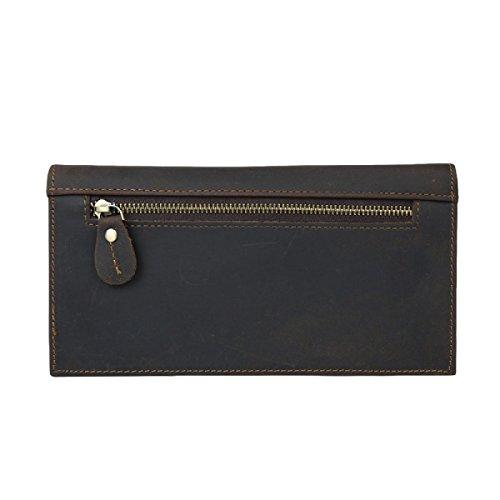 Leder Beiläufige Art Und Weise Einfache Retro- Dame Lange Mappenhandtaschen-Handymappe Brown