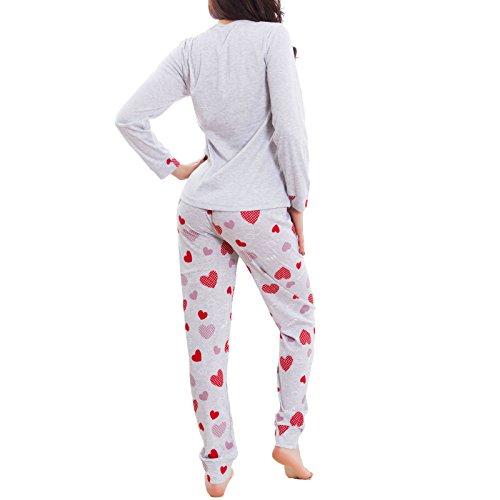 Toocool - Pigiama donna CUORI topolino maniche lunghe kawaii pantaloni nuovo BE-6251 Rosso
