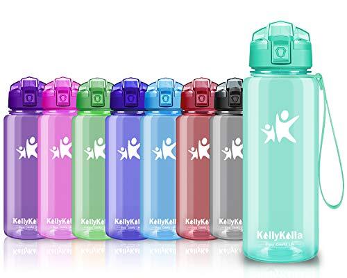 KollyKolla Trinkflasche Sport BPA-frei Auslaufsicher Wasserflasche, 750ml Tritan Sportflasche Kunststoff mit Filter für Kinder, Schule, Mädchen, Wasser, Fahrrad, Gym, Yoga, Glossy Smaragd-3