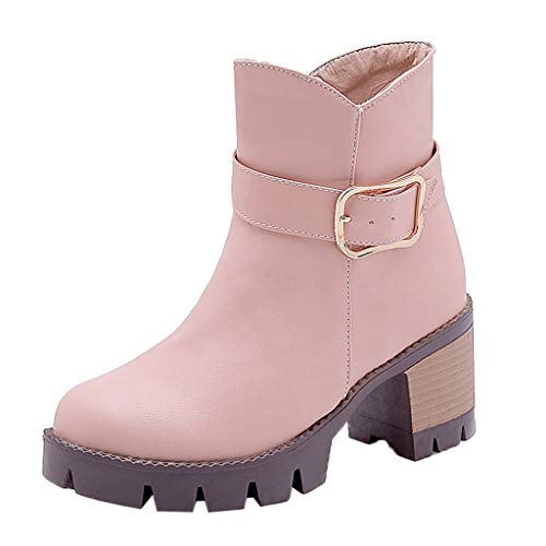 Sanahy Damen Stiefel Blockabsatz Schleifen Freizeit Nackte Stiefel Stiefelschuhe Gürtelschnalle Stiefel mit dickem Absatz - Holzkohle-schleife