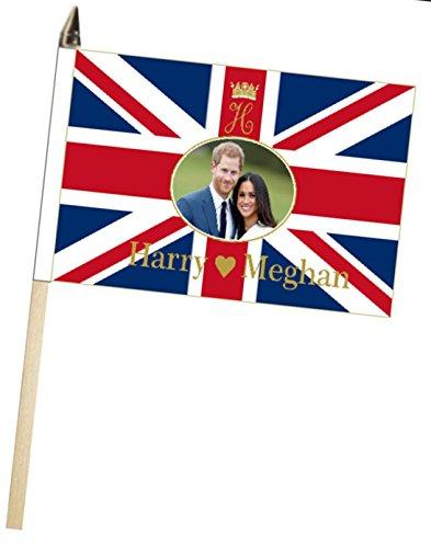 Prince Harry & Meghan Markle Mariage fiançailles Grande Main agitant Drapeau Courtois