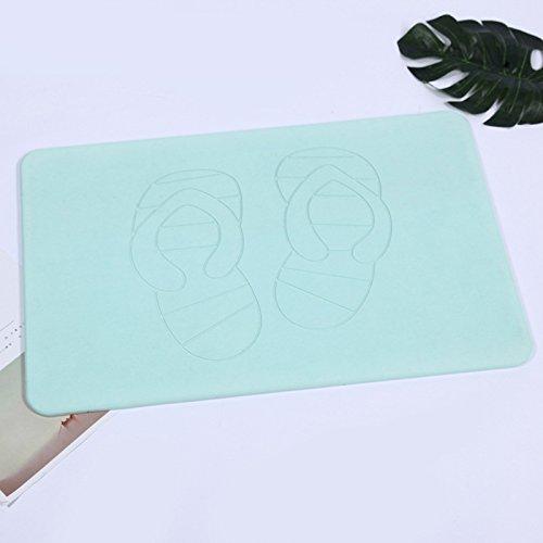 TS-nsliXuan Wasser Kissen Fußmatte, natürliche Umweltschutz Badezimmer, anti slip Wasseraufnahme 390*600*9, Grün - G