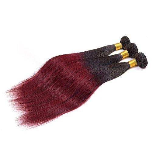 Vrais cheveux Rideau couleur vin rouge cheveux noirs entièrement tissé à la main Rideau longue ombre cheveux,10 inches