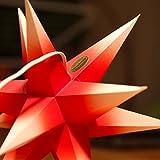 1 Papierstern beleuchtet, rot mit weißen Spitzen, 3d Weihnachtsstern fürs Fenster - Bockelwitzer Stern (Art.Nr.207) inkl. Netzteil mit 3-fach-Verteiler, Fenster-Clip, Durchmesser 19 cm, Papier, komplett handgefertigt, für den Innenbereich