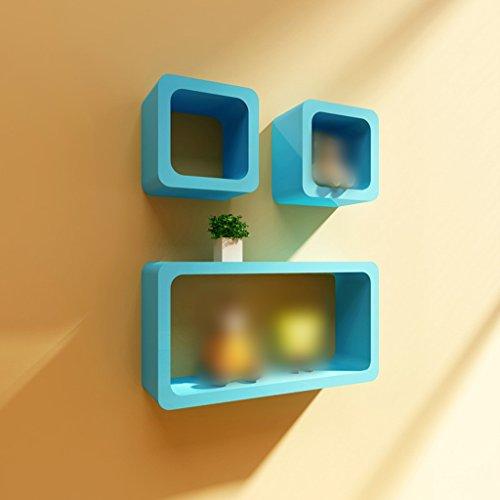 JCRNJSB® Rack, Regal Schlafzimmer Wohnzimmer an der Wand Wand hängende moderne einfache Wand Shelf Platz Platte kreative Dekoration Kann abnehmbar aufbewahrt werden Regal Regal Büc ( Farbe : Blau )
