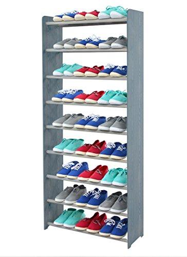 Schuhregal Schuhschrank Schuhe Schuhständer RBS-9-65 (Seiten hellgrau, Stangen in der Farbe grau)