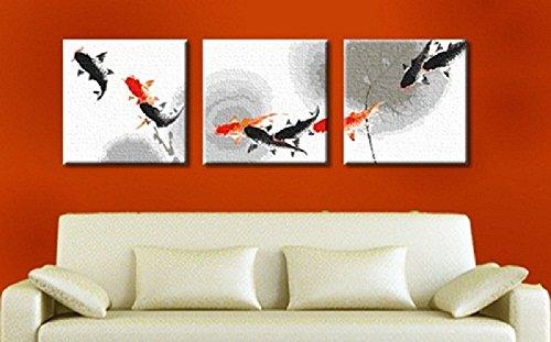 DIY Gemälde Farbe durch Zahlen Kits Koi Glückliche Malen nach Zahlen Kit 3 Stück Art Malerei für Hauptdekoration Art Stretched Frameless 20x60 Zoll (50x150cm) (Koi Glücklich)