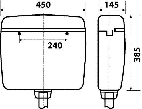 Spülkasten Karat | Kunststoff | 2 Mengen Spültechnik | 3,5 Liter oder 6 - 9 Liter | Tiefspülkasten | WC, Toilette Curry